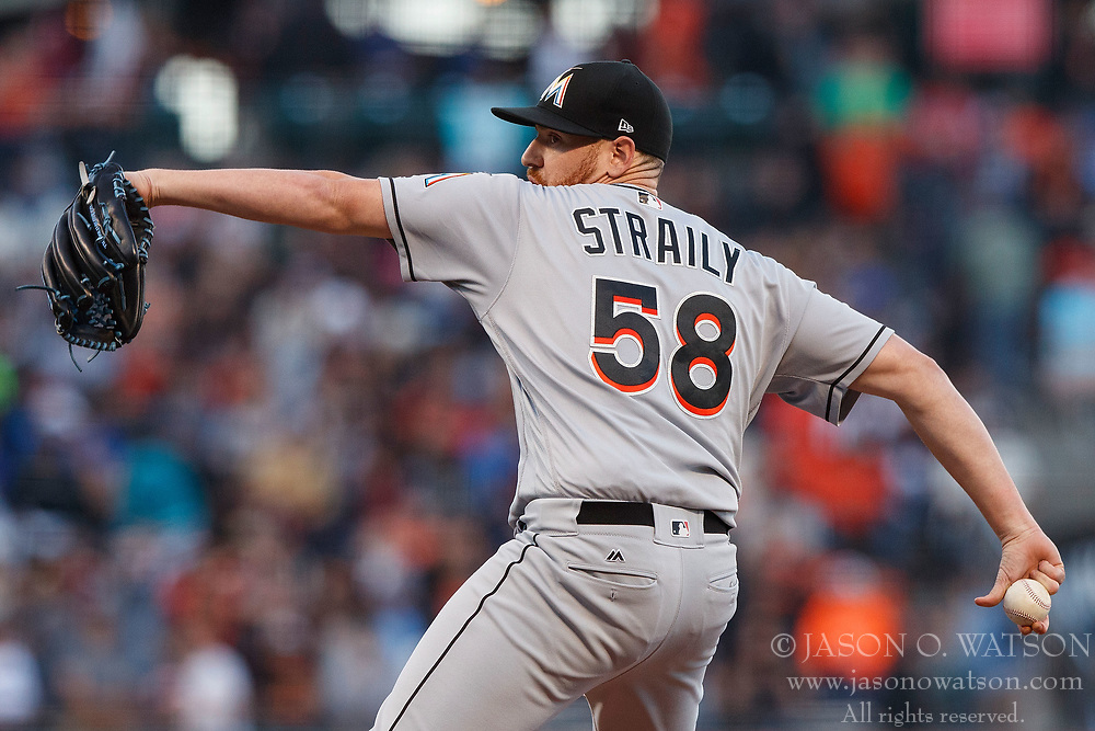 SAN FRANCISCO, CA - JULY 07: Dan Straily #58 of the Miami Marlins pitches against the San Francisco Giants during the first inning at AT&T Park on July 7, 2017 in San Francisco, California.  (Photo by Jason O. Watson/Getty Images) *** Local Caption *** Dan Straily