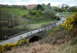 (c) Licensed to London News Pictures. <br /> 28/04/2017<br /> Goathland, UK<br /> <br /> Lead riders taking part in the Tour de Yorkshire cycling race pass through Goathland on Stage 1 of the three stage race.<br /> <br /> Photo Credit: Ian Forsyth/LNP
