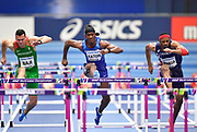 Balazs Baji (HUN), Jarret Eaton (USA) and Aurel Manga (FRA)  all rise together in their Semi Final of the Men's 60m Hurdles during the final session of the IAAF World Indoor Championships at Arena Birmingham in Birmingham, United Kingdom on Saturday, Mar 2, 2018. (Steve Flynn/Image of Sport)