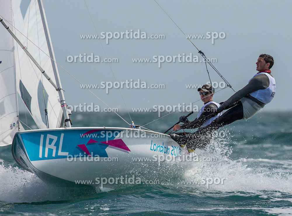 02.08.2012, Bucht von Weymouth, GBR, Olympia 2012, Segeln, im Bild Flanigan Scott, Owens Ger, (IRL, 470 Men) // during Sailing, at the 2012 Summer Olympics at Bay of Weymouth, United Kingdom on 2012/08/02. EXPA Pictures © 2012, PhotoCredit: EXPA/ Daniel Forster ***** ATTENTION for AUT, CRO, GER, FIN, NOR, NED, POL, SLO and SWE ONLY!