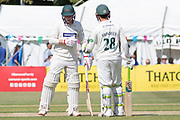 Callum Parkinson & Harry Swindells during the Specsavers County Champ Div 2 match between Gloucestershire County Cricket Club and Leicestershire County Cricket Club at the Cheltenham College Ground, Cheltenham, United Kingdom on 15 July 2019.