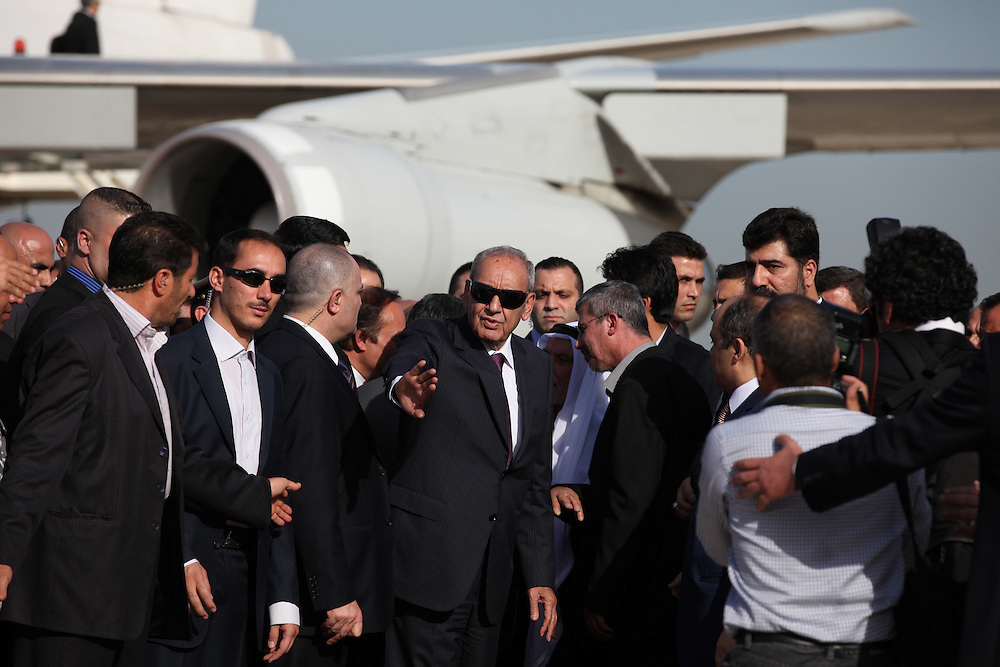 Speaker of the parliament and Shia politician, Nabih Berri, welcomes Iranian President Mahmoud Ahmadinejad to Beirut.