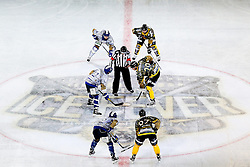 16.09.2012, Amphitheater, Pula, CRO, EBEL, Ice Fever, KHL Medvescak Zagreb vs UPC Vienna Capitals, 04. Runde, im Bild Spieler beim ersten Bully mit dem Logo ICE FEVER // during the Erste Bank Icehockey League 04th Round match betweeen KHL Medvescak Zagreb and UPC Vienna Capitals at the Amphitheater, Pula, Croatia on 2012/09/16. EXPA Pictures © 2012, PhotoCredit: EXPA/ Pixsell/ ATTENTION - OUT OF CRO, SRB, MAZ, BIH and POL *****