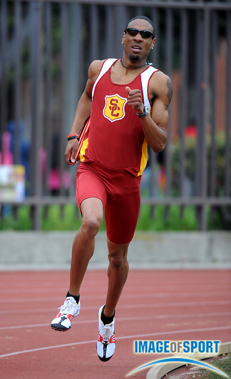 Mar 1, 2008; Los Angeles, CA, USA; Duane Solomon runs the 800m leg on Southern California victorious distance medley relay that ran 10:14.96 in the Trojan Relays at Cromwell Field.