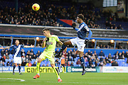 Birmingham City midfielder Demarai Gray wins a header during the Sky Bet Championship match between Birmingham City and Huddersfield Town at St Andrews, Birmingham, England on 5 December 2015. Photo by Alan Franklin.