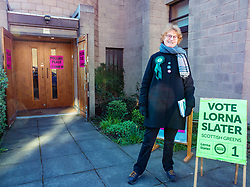 Leith, Edinburgh, Scotland, United Kingdom, 11 April 2019. Leith Walk Council By-Election:  Caro, Scottish Greens activist, outside one of the polling stations at Ebenezer United Free Church. Voting is slow this morning with only a dozen vaoters arriving by 8.30am. The election is taking place as a result of the resignation of Councillor Marion Donaldson. The election fields 11 candidates, including the first ever candidate for the For Britain Movement in Scotland, Paul Stirling. The For Britain Movement was founded by former UKIP leadership candidate Anne Marie Waters in March 2018. <br /> <br /> Sally Anderson/ Edinburgh Elite Media