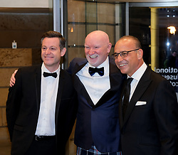 The Hunter Foundation Dinner, Edinburgh, 18 February 2020<br /> <br /> Sir David Attenborough was giving the talk at this year's Hunter Foundation Dinner<br /> <br /> Pictured:  Sir Tom Hunter (Centre) with Matt Baker (left) and Theo Paphitis (right)<br /> <br /> Alex Todd | Edinburgh Elite media