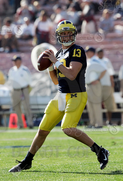1 January 2007: Quarterback #13 Jeff Kastl  at the 93rd Rose Bowl Game at the Rose Bowl Stadium for the Pac-10 USC Trojans vs the Big-10 Michigan Wolverines NCAA college football game in Southern California.  Trojans defeated the Wolverines 32-18 in regulation.<br />