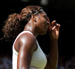 LONDON, ENGLAND - Tuesday, June 29, 2010: Serena Williams (USA) with her sparking nails celebrates after winning the Ladies' Singles Quarter-Final match on day eight of the Wimbledon Lawn Tennis Championships at the All England Lawn Tennis and Croquet Club. (Pic by David Rawcliffe/Propaganda)