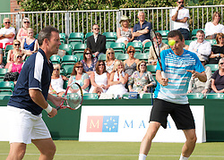 MANCHESTER, ENGLAND: Richard Kraijcek (NED) and Jeremy Bates (GBR) on Day 3 of the Manchester Masters Tennis Tournament at the Northern Tennis Club. (Pic by David Tickle/Propaganda)