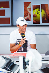 June 3, 2018 - Paris, U.S. - PARIS, FRANCE  - JUNE 03: RAFAEL NADAL (ESP) is interviewed for French TV during the French Open on June 03, 2018, at Stade Roland-Garros in Paris, France.(Photo by Chaz Niell/Icon Sportswire) (Credit Image: © Chaz Niell/Icon SMI via ZUMA Press)