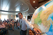 MS Kazan on the Volga. Learning facts about Russia from tour guide Andrej...A river cruise from Moscow to St. Petersburg aboard MS Kazan, the most luxurious vessel (four star plus) operating in Russia. It is run by Austrian River Cruises under strictly Western standards, chartered - amongst others - by Club 50, a senior's travel agency based in Vienna.