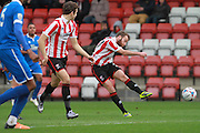James Dayton during the FA Trophy match between Cheltenham Town and Chelmsford City at Whaddon Road, Cheltenham, England on 12 December 2015. Photo by Antony Thompson.