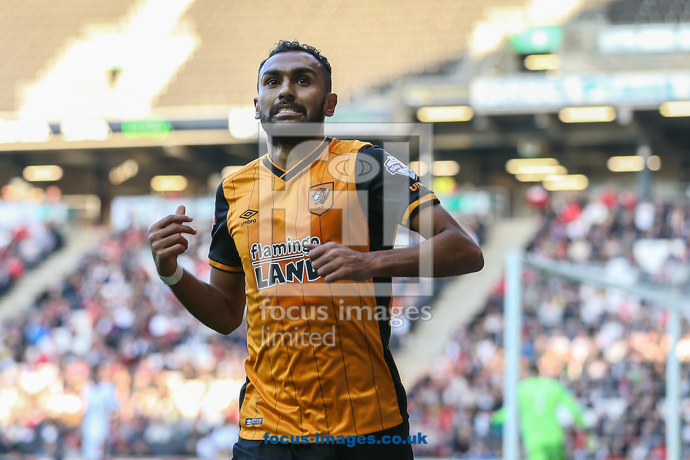 Ahmed Elmohamady of Hull City celebrates scoring the opening goal against Milton Keynes Dons during the Sky Bet Championship match at stadium:mk, Milton Keynes<br /> Picture by David Horn/Focus Images Ltd +44 7545 970036<br /> 31/10/2015