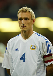 CARDIFF, WALES - Wednesday, September 10, 2003: Finland's captain Sami Hyypia during the Euro 2004 qualifying match at the Millennium Stadium.. (Photo by David Rawcliffe/Propaganda)