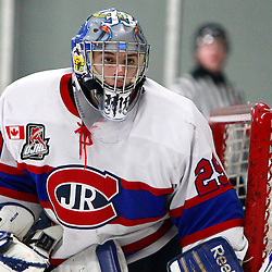 TORONTO, ON - Feb 16 : Ontario Junior Hockey League Game Action between the Milton Ice Hawks and the Toronto Jr. Canadiens, Michael Bullion #29 of the Toronto Junior Canadians Hockey Club.<br /> (Photo by Brian Watts / OJHL Images)