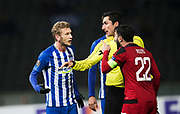 BERLIN, TYSKLAND - 2017-12-07: Fabian Lustenberger och Brwa Nouri i br&aring;k under UEFA Europa League group J matchen mellan Hertha BSC och &Ouml;stersunds FK p&aring; Olympiastadion den 7 december, 2017 i  Berlin, Tyskland. Foto: Nils Petter Nilsson/Ombrello<br /> ***BETALBILD***