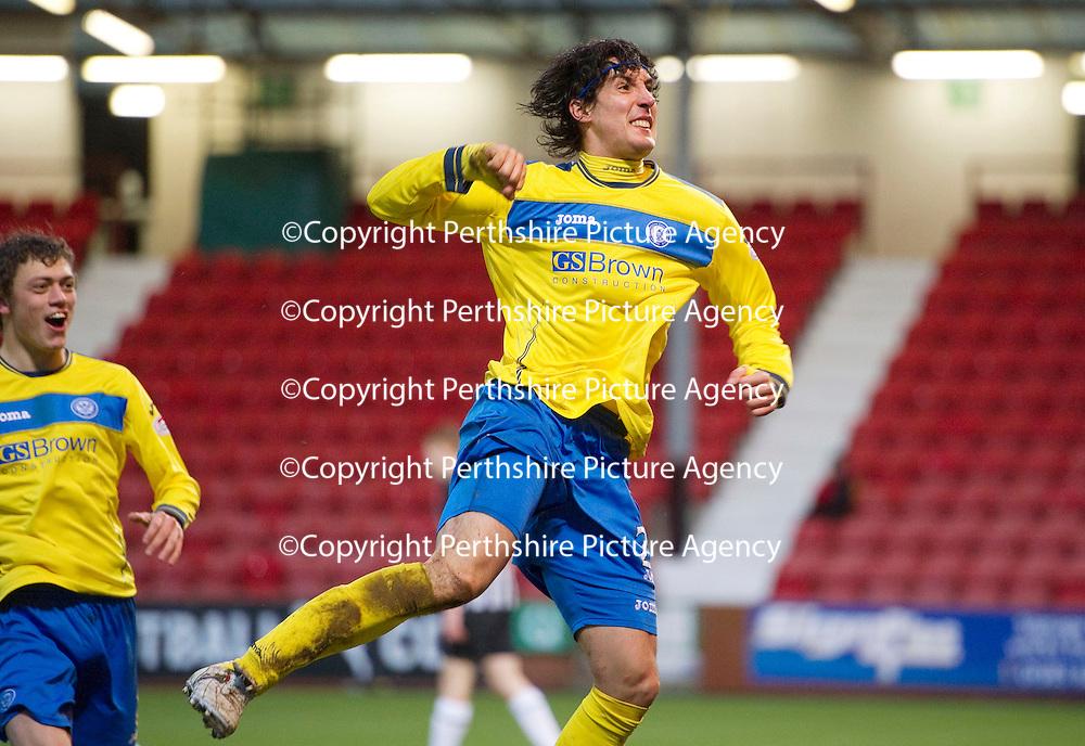 Dunfermline v St Johnstone..24.12.11   SPL <br /> Fran Sandaza celebrates his goal<br /> Picture by Graeme Hart.<br /> Copyright Perthshire Picture Agency<br /> Tel: 01738 623350  Mobile: 07990 594431