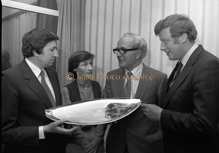 """""""The National Fish Cookery Award""""..29.04.1982..04.29.1982.29th April 1982..This competition sponsored by Bord Iascaigh Mhara was held in The Clare Inn, Newmarket-on Fergus,Co Clare. the competition was open to schools across the country..Minister Daly,Catherine O'Sullivan (winner) and Mr.T.F.Geoghegan,Market Development Manager,Bord Iascaigh Mhara and Dr Tony Meaney pose with the Silver Salver."""