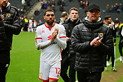 MK Dons Scott Golbourne (12) looking disappointed on the lap of appreciation by the MK Dons players after the EFL Sky Bet League 1 match between Milton Keynes Dons and Scunthorpe United at stadium:mk, Milton Keynes, England on 28 April 2018. Picture by Nigel Cole.