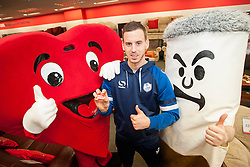 Big Cig, Hearty and Sheffield Wednesday footballer Marnick Vermijl  were all on hand at the Sheffield City Centre BHF Furniture & Electrical Store to take part in Stop Smoking Sheffield  as part of the No smoking Day Campaign<br /> <br /> 2 March 2015<br /> Image © Paul David Drabble <br /> www.pauldaviddrabble.co.uk