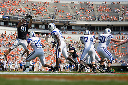 Virginia defensive end Chris Long (91) disrupts a pass from Duke quarterback Thaddeus Lewis (9).  The Virginia Cavaliers defeated the Duke Blue Devils 23-14 at Scott Stadium in Charlottesville, VA on September 8, 2007  With the loss, Duke extended their longest-in-the-nation losing streak to 22 games.