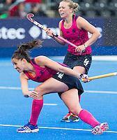LONDON -  Unibet Eurohockey Championships 2015 in  London.  Scotland v Italy. Scottish.  Scottish Emily Maguire and Kareena Marshall .    WSP Copyright  KOEN SUYK