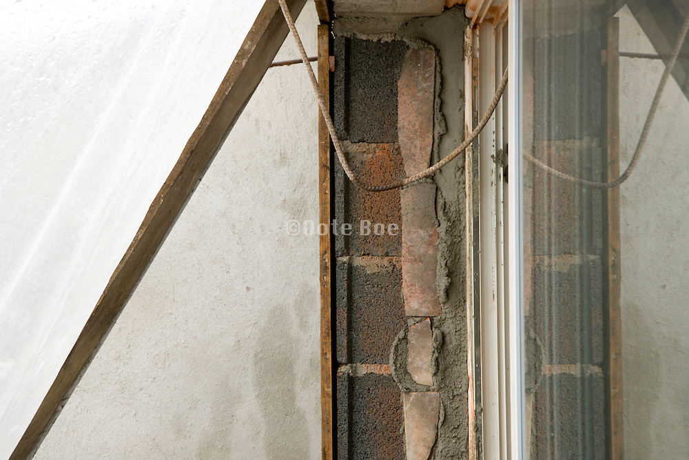 just cemented window pane with the outside protected by plastic