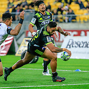 Vince Aso  reaching out to score during the Super Rugby union game between Hurricanes and Sunwolves, played at Westpac Stadium, Wellington, New Zealand on 27 April 2018.   Hurricanes won 43-15.