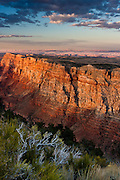 A canyon wall is lit up by the late afternoon light, at Desert View Point, in Grand Canyon National Park, Arizona