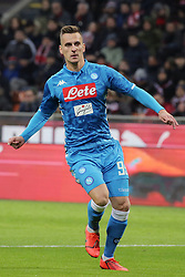 January 26, 2019 - Milan, Milan, Italy - Arkadiusz Milik #99 of SSC Napoli in action during the serie A match between AC Milan and SSC Napoli at Stadio Giuseppe Meazza on January 26, 2018 in Milan, Italy. (Credit Image: © Giuseppe Cottini/NurPhoto via ZUMA Press)