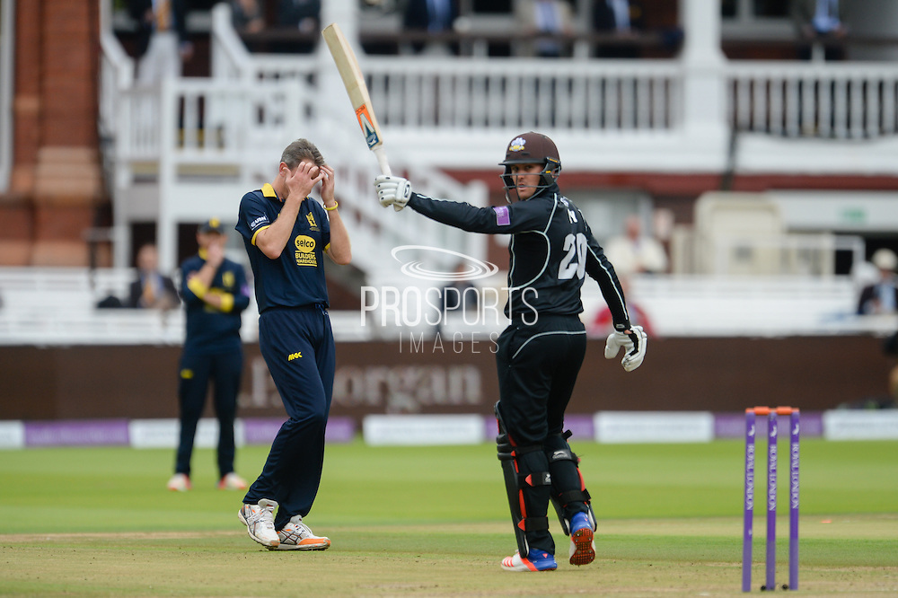 Rikki Clarke of Warwickshire with his head in his hands after Jason Roy finds the boundary during the Royal London One Day Cup match between Warwickshire County Cricket Club and Surrey County Cricket Club at Lord's Cricket Ground, St John's Wood, United Kingdom on 17 September 2016. Photo by David Vokes.