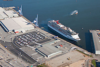 Cruise Ship Carnival Pride aerial photo at the Maryland Cruise Terminal at the Port of Baltimore on its Inaugural Sail