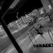 Graffitti tagged bus shelter on the Plaza in Kansas City, Missouri.