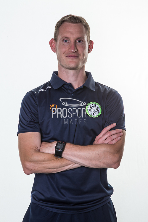 Forest Green Rovers strength and conditioning coach Tom Huelin during the official team photocall for Forest Green Rovers at the New Lawn, Forest Green, United Kingdom on 29 July 2019.