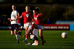 Ebony Salmon of Bristol City is challenged by Niamh Charles of Liverpool Women - Mandatory by-line: Ryan Hiscott/JMP - 19/01/2020 - FOOTBALL - Stoke Gifford Stadium - Bristol, England - Bristol City Women v Liverpool Women - Barclays FA Women's Super League