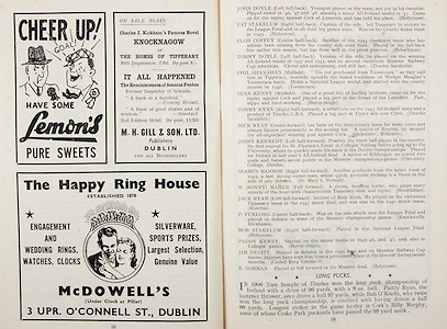 All Ireland Senior Hurling Championship Final,.Brochures,.04.09.1949, 09.04.1949, 4th September 1949, .Tipperary 3-11, Laois 0-3, .Minor Kilkenny v Tipperary, .Senior Tipperary v Laois, .Croke Park, ..Advertisements, Lemon's Pure Sweets, Knocknagow Charles J Kickham's Famous Novel M H Gill & Son Ltd Publishers, McDowell's The Happy Ring House, ..Articles, Long Pucks,