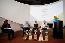Marusa Gorisek, Paddy Kaser - representative World Curling Federation, Tadeja Brankovic, Gregor Rigler - representative Slovenian Curling Association and Miro Cerar at press conference of Slovenian Curling Association before Olympic Celebration Tour in Zalog, on February 9, 2018 in Olympic center BTC, Ljubljana, Slovenia. Photo by Urban Urbanc / Sportida