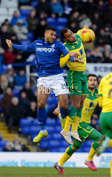 David Davis wins a header during the Sky Bet Championship match between Birmingham City and Norwich City at St Andrews, Birmingham, England on 31 January 2015. Photo by Alan Franklin.