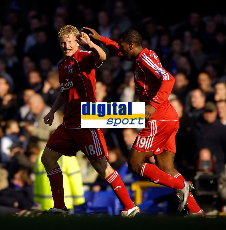 Photo: Jed Wee/Sportsbeat Images.<br /> Everton v Liverpool. The FA Barclays Premiership. 20/10/2007.<br /> <br /> Liverpool's Ryan Babel (R) congratulates goalscorer Dirk Kuyt after he nets the winner.