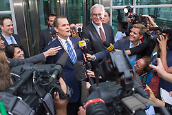 August 14, 2017 - Denver, Colorado, U.S - Taylor Swift's lead attorney DOUGLAS BALDRIDGE, left, talks to the media after day 6 of the Taylor Swift and David Mueller trial at the Alfred A. Arraj Courthouse. A federal jury found that a former radio show host groped singer Taylor Swift before a 2013 concert in Denver and awarded her $1 in damages.(Credit Image: © Matthew Staver via ZUMA Wire)