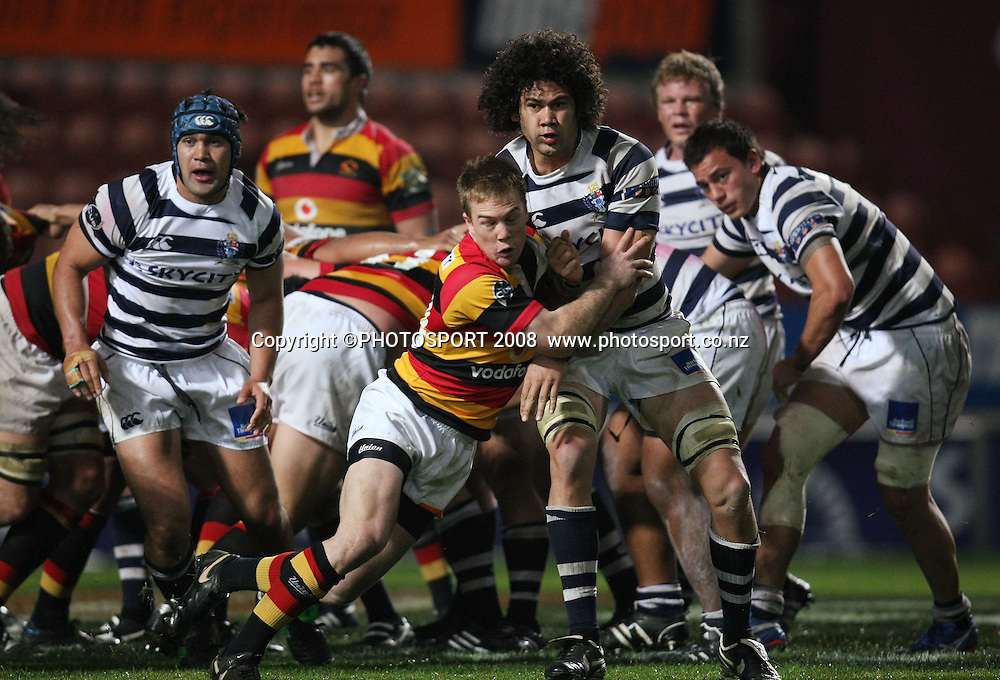 Auckland's Kurtis Haiu is tackled by Josh Sutherland at the back of a scrum. Air NZ Cup, Waikato v Auckland, Waikato Stadium, Hamilton, Saturday 30 August 2008. Waikato won 34-13. Photo: Stephen Barker/PHOTOSPORT