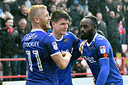 Goal - Liam McAlinden (19) of Exeter City celebrates scoring a goal to give a 2-0 lead to the home team with Jayden Stockley (11) of Exeter City and Hiram Boateng (44) of Exeter City during the EFL Sky Bet League 2 match between Exeter City and Grimsby Town FC at St James' Park, Exeter, England on 11 November 2017. Photo by Graham Hunt.