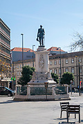 Statue of King Pedro V of Portugal at Batalha Square (Praca da Batalha) in Se civil parish of Porto, Portugal