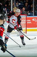 KELOWNA, CANADA - NOVEMBER 29: Josh Maser #11 of the Prince George Cougars passes the puck against the Kelowna Rockets on November 29, 2017 at Prospera Place in Kelowna, British Columbia, Canada.  (Photo by Marissa Baecker/Shoot the Breeze)  *** Local Caption ***