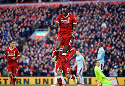 LIVERPOOL, ENGLAND - Saturday, February 24, 2018: Liverpool's Sadio Mane celebrates scoring the fourth goal during the FA Premier League match between Liverpool FC and West Ham United FC at Anfield. (Pic by David Rawcliffe/Propaganda)