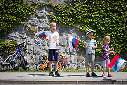 Young supporters  during Stage 3 from Skofja Loka to Vrsic (170 km) of cycling race 20th Tour de Slovenie 2013,  on June 15, 2013 in Slovenia. (Photo By Vid Ponikvar / Sportida)