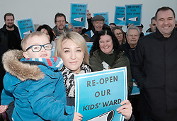 St John's Children's Ward Protest, Friday 19th January 2018<br /> <br /> Neil Findlay MSP joined a protest by parents, carers and members of the public at the continued closure of the St John&rsquo;s Children&rsquo;s ward to inpatients out of hours. <br /> <br /> Coady Dorman with son Mathew and Neil Findlay MSP (right)<br /> <br /> Alex Todd | EEm 24th September 2017