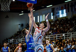 Samar Ziga of Slovenia vs Sengun Alperen of Turkey  during basketball match between National teams of Turkey and Slovenia in the SemiFinal of FIBA U18 European Championship 2019, on August 3, 2019 in Nea Ionia Hall, Volos, Greece. Photo by Vid Ponikvar / Sportida