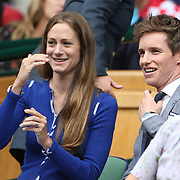 LONDON, ENGLAND - JULY 16: Eddie Redmayne and his wife Hannah Bagshawe at the Mens Singles Final between Roger Federer of Switzerland and Marin Cilic of Croatia during the Wimbledon Lawn Tennis Championships at the All England Lawn Tennis and Croquet Club at Wimbledon on July 16, 2017 in London, England. (Photo by Tim Clayton/Corbis via Getty Images)